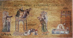 A thirteenth-century mosaic depicting the martyrdom of James.