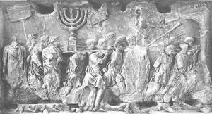 Scene on the Arch of Titus, showing the Roman army carrying off the Table of Showbread, Candelabra, and Silver Trumpets after destroying the Temple in A.D. 70.